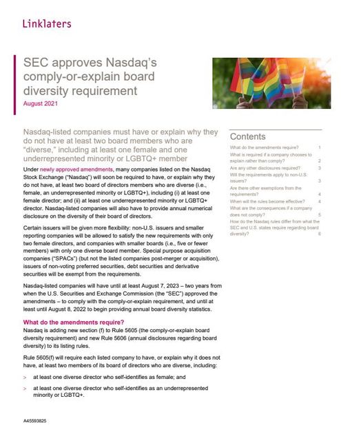 SEC approves Nasdaq's comply-or-explain board diversity requirement featured image