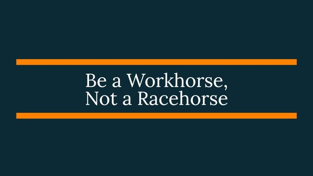 Be A Workhorse, Not A Racehorse featured image