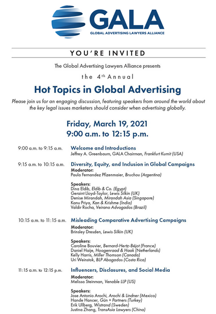 "You're Invited:  GALA's 4th Annual ""Hot Topics in Global Advertising Law"" Conference featured image"