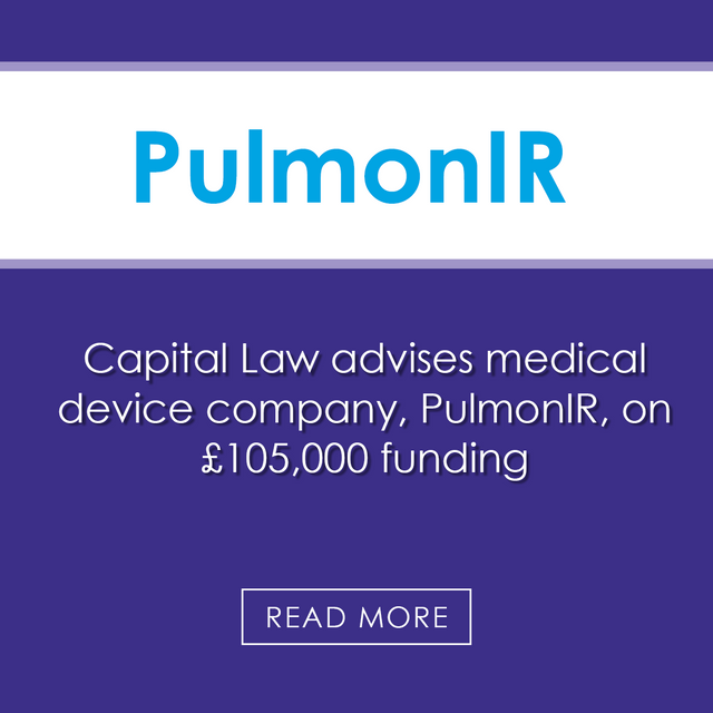 Capital Law advises medical device company Pulmon IR on £105,000 funding featured image