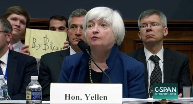 Bitcoin Photobombers Crashed Janet Yellen's Fed Testimony—and Got Paid $10,000 featured image