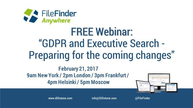 Free Webinar on Feb 21: GDPR and Executive Search – Preparing for the Coming Changes featured image