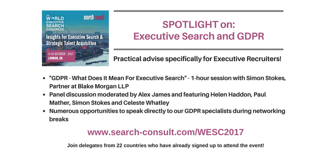 SPOTLIGHT on GDPR at the Upcoming World Executive Search Congress featured image