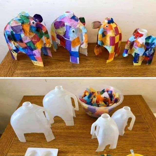 Fab Elmer art project using recycled milk cartons featured image