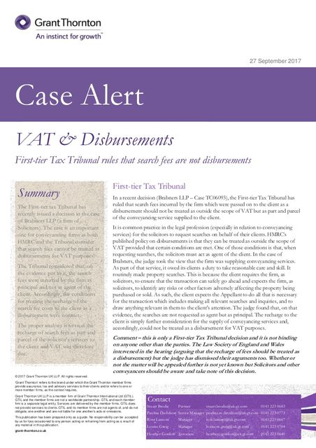 VAT case alert - Search fees ruled not out of scope for VAT featured image