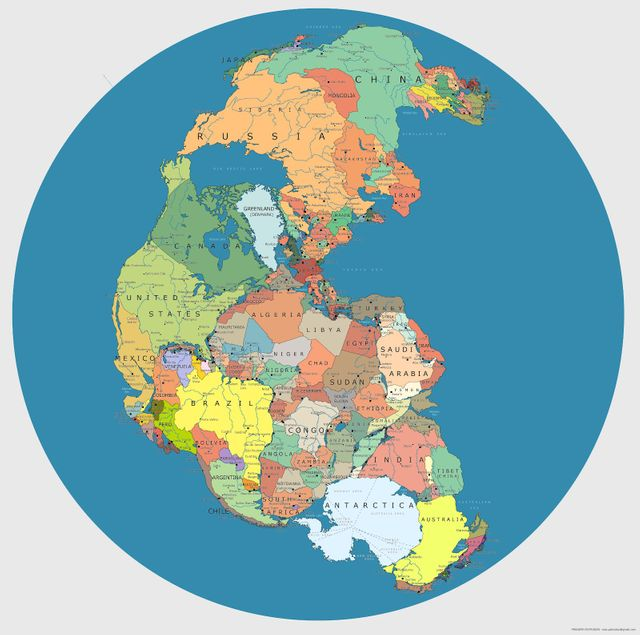 Pangea (300 million years ago) and the modern map featured image